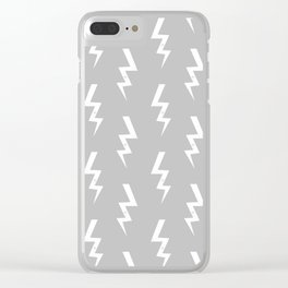 Bolts lightening bolt pattern grey and white minimal cute patterned gifts Clear iPhone Case