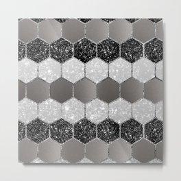 Silver Hexagon Glitter Glam #1 #geometric #decor #art #society6 Metal Print