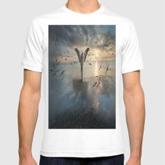 Birds of freedom MEDIUM White Mens Fitted Tee