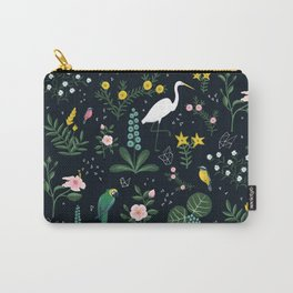 """""""Tropical Birds and Flowers"""" on Midnight Blue by Bex Morley Carry-All Pouch"""
