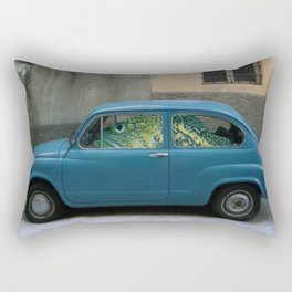 Fish Driving Blue Car Surreal Collage Rectangular Pillow