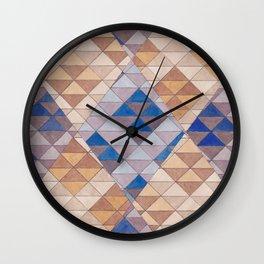 Triangle Pattern No. 13 Shifting Purple and Ochre Wall Clock