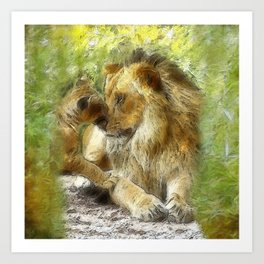 Dad and Cub Painterly Portrait Art Print