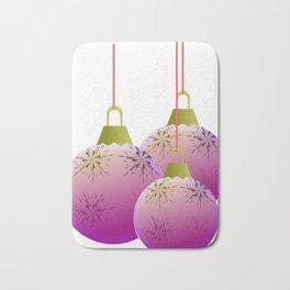 Pink Christmas Bulbs Bath Mat