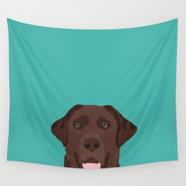 Chocolate Lab peeking dog head labrador retriever must have funny dog breed gifts Wall Tapestry