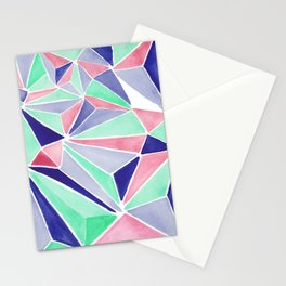 Watercolor colorful mint triangles. Watercolor geometry 3D effect. Stationery Cards