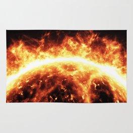 Sun surface with solar flares Rug