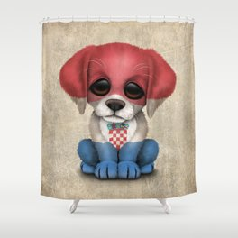 Cute Puppy Dog with flag of Croatia Shower Curtain