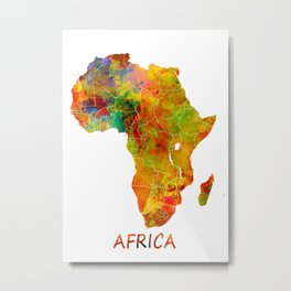Africa map colored Metal Print