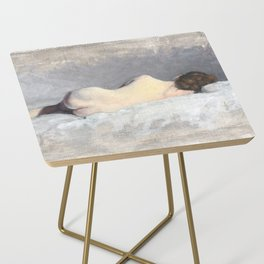 Soft Pastel Nude Female Oil painting of Woman Sleeping Side Table