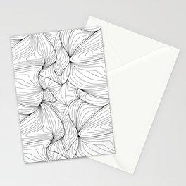 Wavy Line Art, Wavy Linear Pattern Stationery Cards