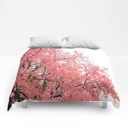 Coral Pink Flowers  Comforters