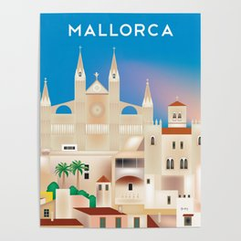 Mallorca, Spain - Skyline Illustration by Loose Petals Poster