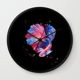 Betta Splendens Fish - Black Background Wall Clock