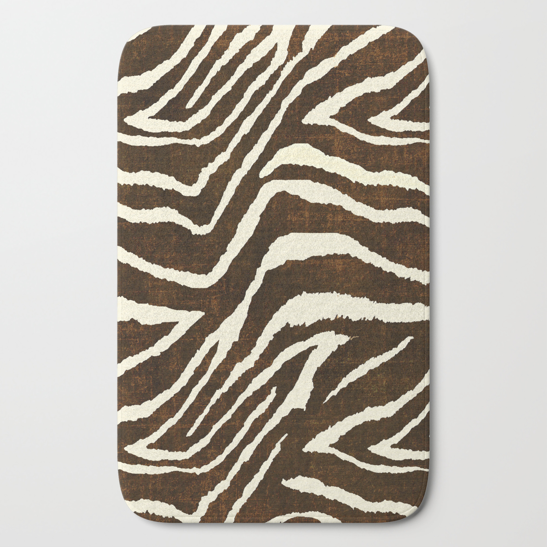Beige Bath Mat By Saundra Myles, Animal Print Bathroom Rugs