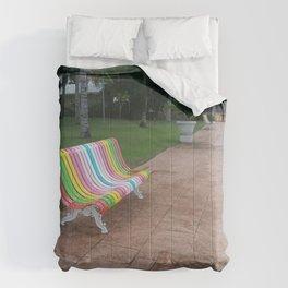 colorful bench sea boardwalk Comforters