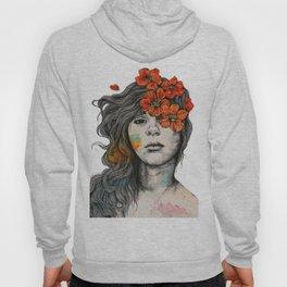 Softly Spoken Agony   flower girl pencil portrait Hoody