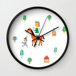 Colorful Cheerful Forest Wall Clock