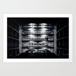 Perfect light in a lonely car park Art Print