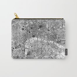 Vintage Map of London England (1860) BW Carry-All Pouch
