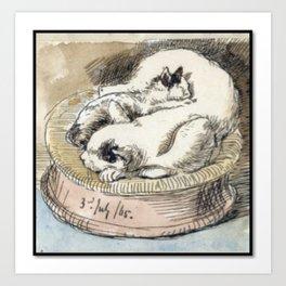 Mama Cat with Kitten in a Wicker Basket Art Print