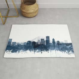 Portland Skyline Navy Blue Watercolor by Zouzounio Art Rug