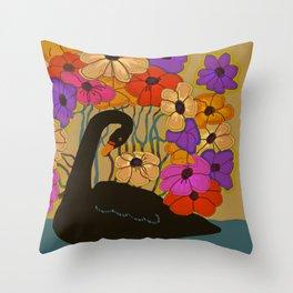 Swan Swimming Through Flowers Throw Pillow