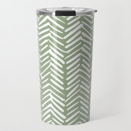 Boho Herringbone Pattern, Sage Green and White Travel Mug