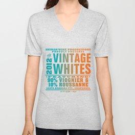 Vintage Whites Wine Label Unisex V-Neck