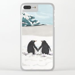 Penguins in love Clear iPhone Case