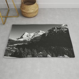 Swiss Alps Black and White Rug