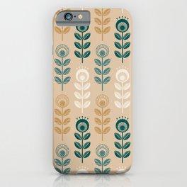 SCANDI GARDEN 01-12, nature colors on light golden iPhone Case