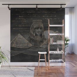 Cleopatra on Egyptian pyramids landscape Wall Mural