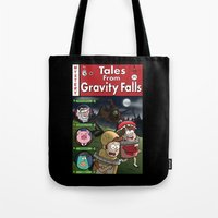 gravity falls Tote Bags featuring Tales from Gravity Falls by Jelly Soup Studios