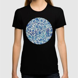 Floating Garden - a watercolor pattern in blue T-shirt