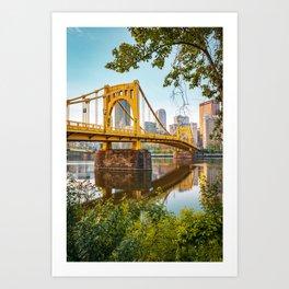 Pittsburgh City Skyline Bridge View Framed Art Print