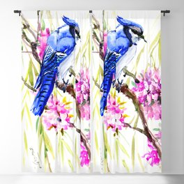 Blue Jay and Cherry Blossom, Blue Pink Birds and Flowers Blackout Curtain