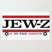 jay z Area & Throw Rugs featuring Jay-Z, umm I mean Jew-Z (H to the EBREW)! by jewtees