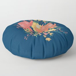 Australian Florals on Blue Floor Pillow