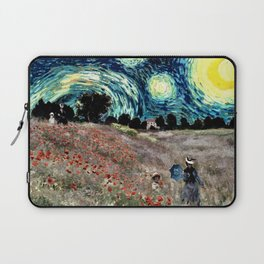 Monet's Poppies with Van Gogh's Starry Night Sky Laptop Sleeve