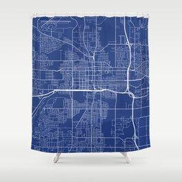 Lansing Map, USA - Blue Shower Curtain