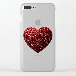 Red Glitter sparkles Heart Clear iPhone Case