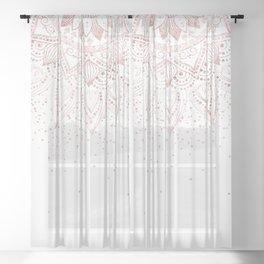 Elegant rose gold mandala confetti design Sheer Curtain