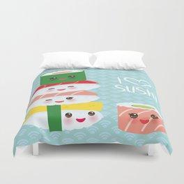 I love sushi. Kawaii funny sushi set with pink cheeks and big eyes, emoji. Blue japanese pattern Duvet Cover