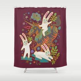 Three Rabbits and a Unicorn Shower Curtain