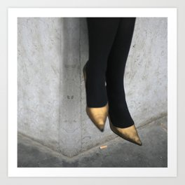 the girl in the gold shoes Art Print
