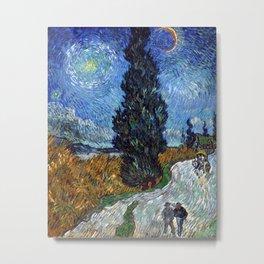 Vincent van Gogh - Road with Cypress and Star Metal Print