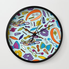Hair Accessories of my Youth - Blue Wall Clock