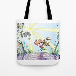 Laughing Along the Path - One Boy and a Toy Tote Bag