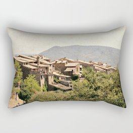 Little vintage town between forest and mountain Rectangular Pillow